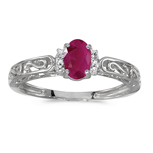 0.37 Carat ctw 10k Gold Oval Red Ruby & Diamond Accent Swirl Filigree Engagement Promise Fashion Ring - White-gold, Size 6.5 ()