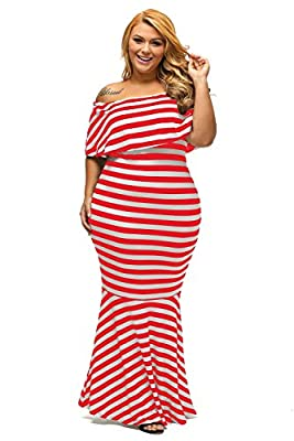 Gloria&Sarah Women's Off The Shoulder Mermaid Striped Ruffle Tube Plus Size Maxi Dress