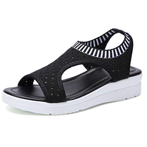- LINH MIU Women Sandals Summer 2019 New Female Shoes Woman Summer Wedge Comfortable Sandals Ladies Slip-on Flat Sandals Women Sandalias Black