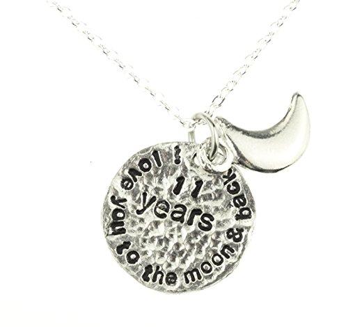 I Love You to the moon and back-Collier de Onzième anniversaire de mariage-Idée cadeau unique Onzième Anniersary