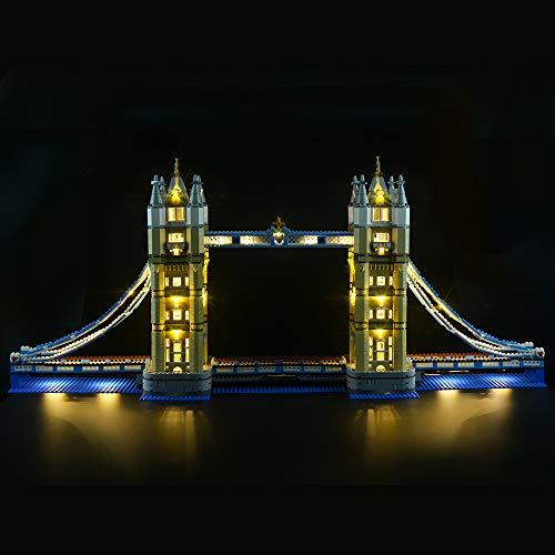 ILUMINACIÓN Juego de luces para bloques de construcción (Puente de la Torre de Londres) Modelo - Parpadeo de luz - Juego de luces LED Compatible con Lego 10214 (NO incluido el modelo)