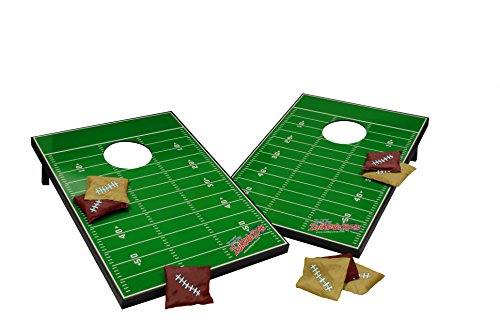 (Wild Sports Tailgate Size Cornhole Set, Football Field Design, Two 2' x 3' Boards and 8 Bags)