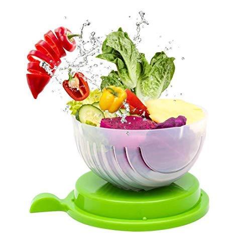 Beaverve Salad Chopper Bowl, 4 in 1 Quick Salad Cutter Bowl, Easy Salad Bowl Cutter and Chopper, Fast Fruit Vegetable Salad Maker Bowl, Smart Cut Salad Tool Fresh Salad Chopper Slicer FDA-Approved