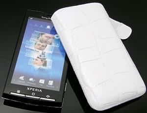Suncase - Funda de cuero especial para Sony Ericsson Xperia X10 con cierre, color blanco con relieve