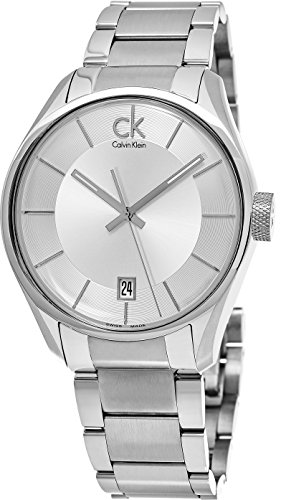 Calvin Klein Stainless Steel Mens Dress Watch Metal Band - 43mm Analog Silver Face with Second Hand, Date, Luminous and Sapphire Crystal - Luxury Swiss Made Quartz Watches For Men K2H21126