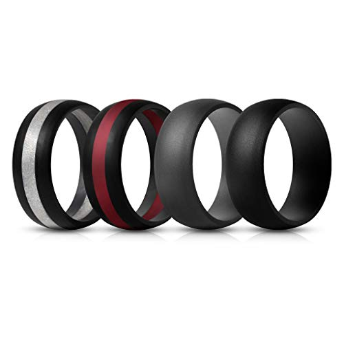 ThunderFit Mens Silicone Rings Wedding Bands – 4 Pack Classic & Middle Line (Dark Grey, Black Middle Silver, Black Middle Red, Black, 7.5-8 (18.2mm))