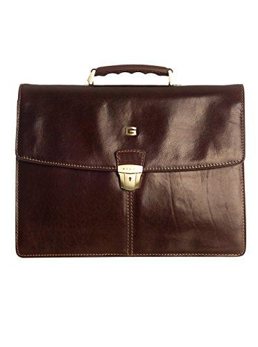 Elizabetta Genuine Italian Leather 3 Compartment Briefcase Attaché Hard Case (Mahogany)