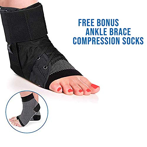 Ankle Stabilizer - Ankle Brace and Sprain Support Heals Ankles Faster While Providing Comfort and Support for Easy and Smooth Healing Process (Medium) ()