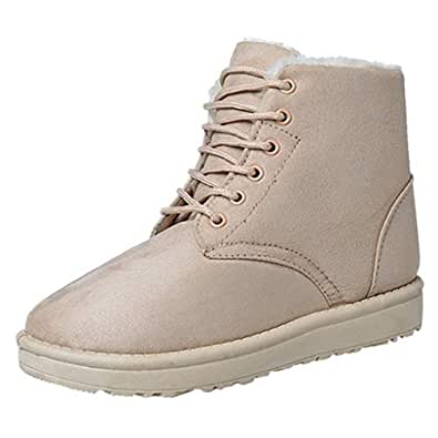 Amazon.com | Women's Lace-up Snow Boots Fashion Flat