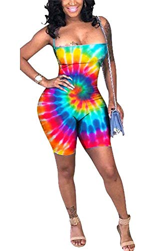(LKOUS Women Summer Sexy Tie Dye Sleeveless Blackless Spaghetti Straps Bodycon High Waist Shorts Pant Jumpsuits Romper Party Plus Size)