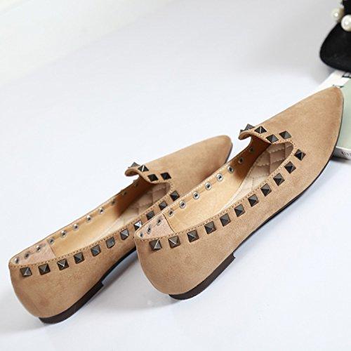 Azbro Mujer Zapatos Planos Remache con Puntera Punta Negro