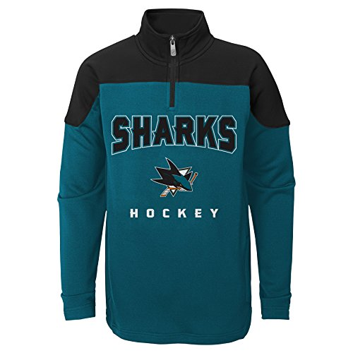 (Outerstuff NHL San Jose Sharks Youth Boys Prospect 1/4 Zip, Large(7), Shark Teal)