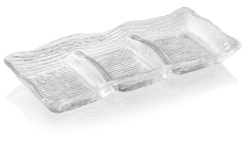 Pressed Glass Serving Dish (IVV Glassware All In One 3-Section Rectangular Appetizer Dish, 12-1/2 by 5-1/2-Inch, Clear)