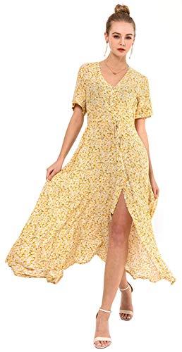 Wantdo Women's Slim Fit Split Dress Floral V Neck Full Length Dresses Yellow M