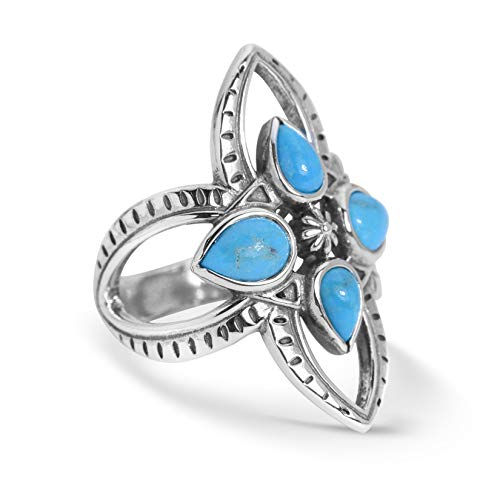 Turquoise Cross Ring - Sterling Silver Blue Turquoise Gemstone Cross Ring Size 8