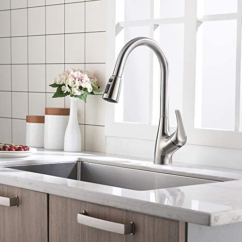 CASILVON Commercial Stainless Steel Single Handle Pull Out Brushed Nickel Kitchen Faucet, Kitchen Sink Faucet with Dual Function Pull Down Sprayer QQT045L