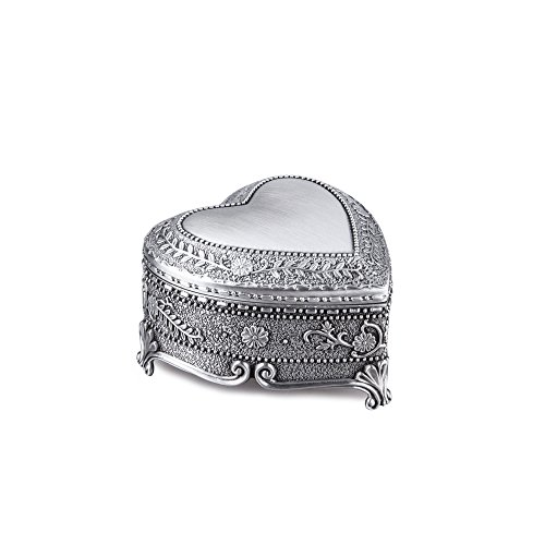 Feyarl Vintage Heart Shape Box Engraved Trinket Treasure Organizer Box for Ring Earrings
