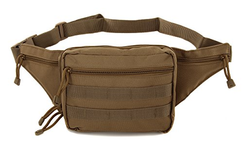 Mens Gun Pistol Pouch Carry Concealment Concealed Large Tactical Nylon Fanny Pack Tan with Key Ring Carabiner