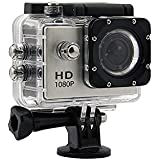 Action Camera Underwater Cam 1080P Full HD 12MP Waterproof 30m 2 LCD 140 degree Wide-angle Sports Camera with 900mAh Batteries and Mounting Accessory Kits (Silver)