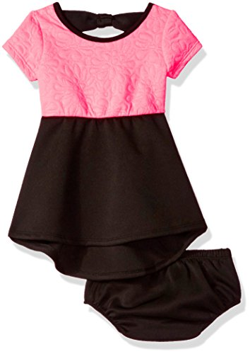 Bow Trimmed Knit Dress - kensie Girls' Baby Floral Quilted Knit and Ponte Dress, Neon Pink, 24M
