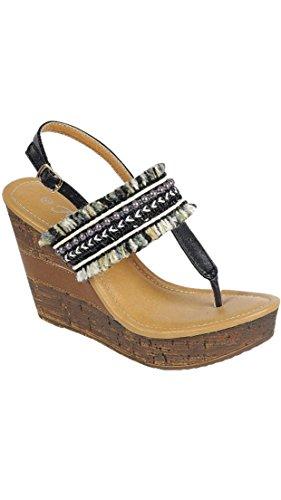 Voor Altijd Bellevue-5 Dames T-band Mode Sleehak Sandalen Zwart