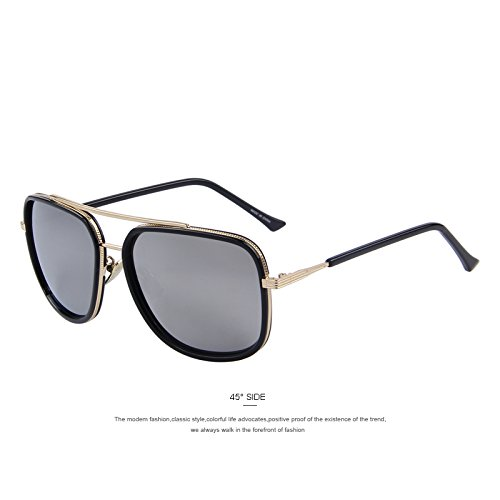 cuadrados Ponte TIANLIANG04 Silver tonos C05 de UV400 sol gafas Gafas Doppio C05 Silver clásicos hombres de SvvqFwxYr