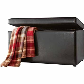 Amazing Mainstays Faux Leather Storage Bench, Brown