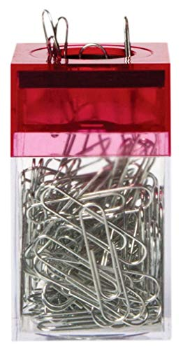 AMAC ClipMaster Magnetic Paper Clip Holder with About 100 Chrome Paper Clips - Crystal Clear Base with Transparent Pink Lid