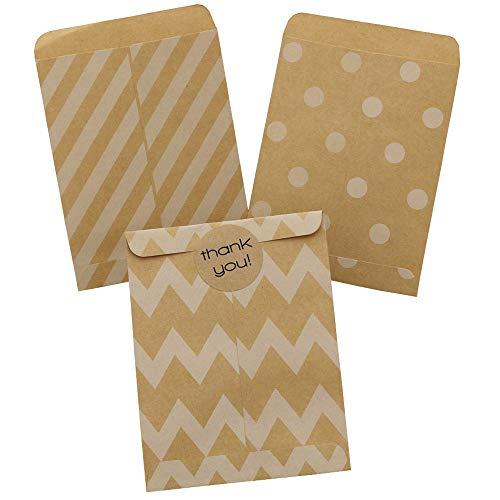 Vazuda 30pcs 4.53x3.54inch+0.55inch Greeting Cards Kraft Envelopes Small Gift Wrap Bags Chevron Stripe Dots Party Favor Gift Paper Bag