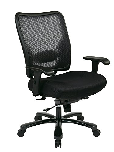 SPACE Seating Big and Tall AirGrid Back and Padded Mesh Seat, Adjustable Arms, Gunmetal Finish Base Ergonomic Managers Chair, Black ()