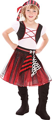 Girls Punky Pirate Costumes (Childrens Halloween Buccaneer Fancy Dress Party Outfit Punky Pirate Girl Costume)