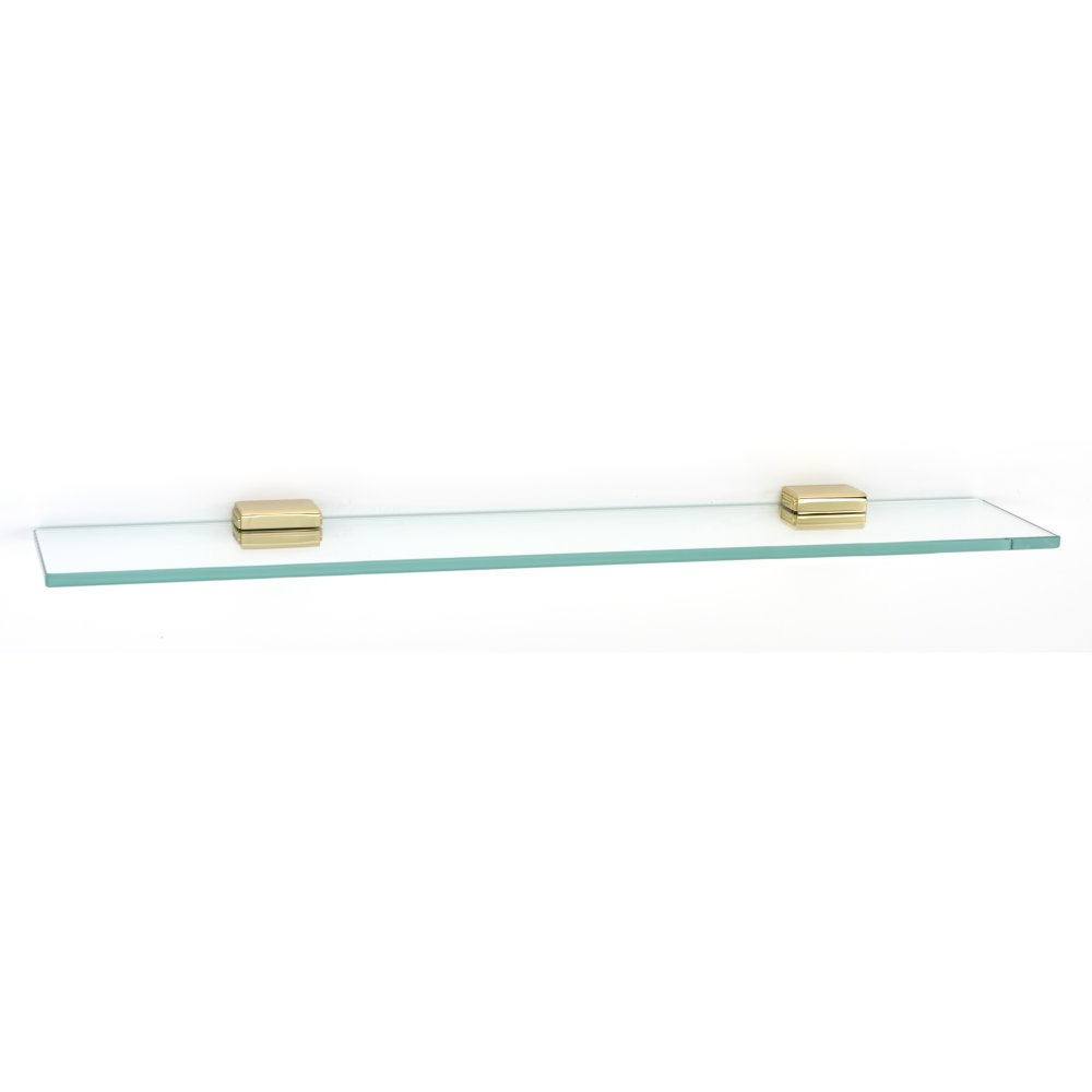 Alno Cube Series 24'' Glass Shelf with Brackets - Polished Brass / No Lacquer