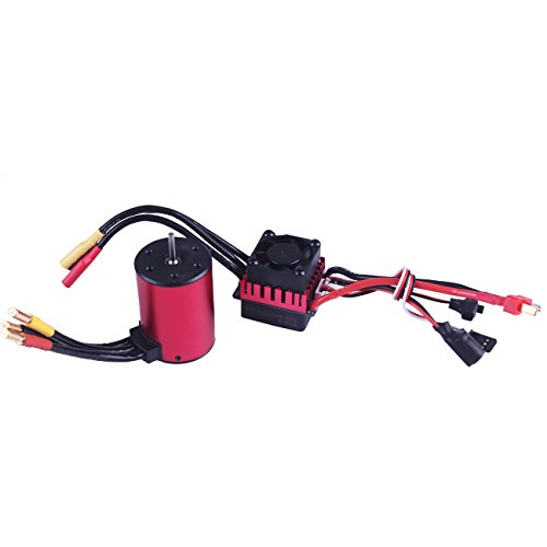 3650 5200KV 3.175mm Sensorless Brushless Motor with 60A Splashproof ESC Combo for 1/10 RC Cars by RCRunning (Red)