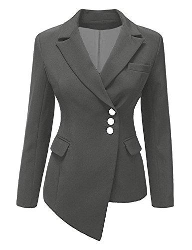 Hyunong New Women's Double Row Metal Buckle Long Sleeve Small Blazer (Route 66 Blazer)