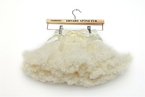 storeofbaby Toddler Tulle Pleated Tutu Skirt Princess Ballet Dance Pettiskirt Cream