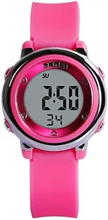 Hiwatch Youth Digital Watch for Girls LED Toddler Waterproof Sport Wirst Watch for Kid Rose Red