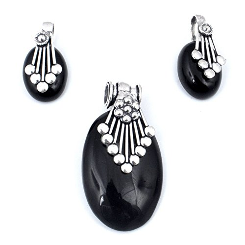 Exotic Gift For Teen! Handmade! Black Onyx Sterling Silver Plated Stud And Pendant Set