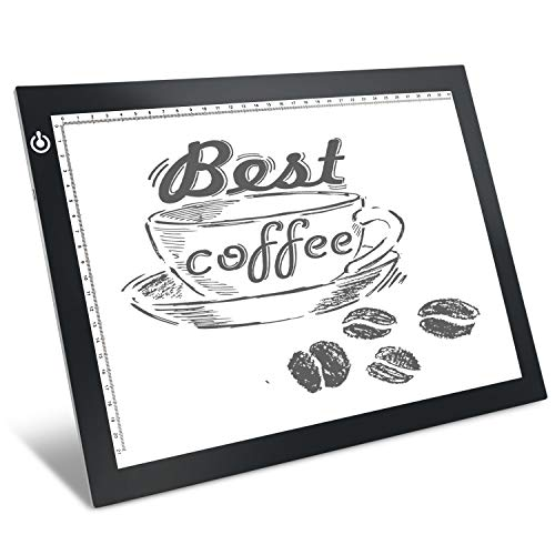 Black A4 Dimmable LED Artcraft Light Box Tracer Slim Light Pad Portable Tablet, USB Power Cable Copy Drawing Board Tracing Table for Artists Designing, Animation, Sketching, Stenciling X-ray Viewing