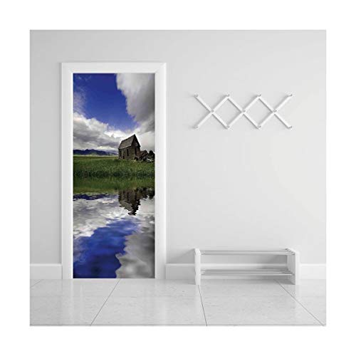 (Door Decal Wall Murals 3D Vinyl Wallpaper Stickers for Room Decor,30.3x78.7 inches,Farm House)