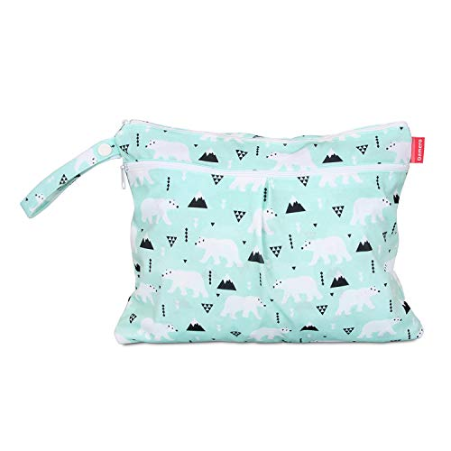 Damero Cloth Diaper Wet Dry Bag with Handle for Swimsuit, Pumping Parts, Wet Clothes and More, Ideal for Travel, Exercise, Daycare, Swimming, Reusable and Water-Resistant (Small,Bear)