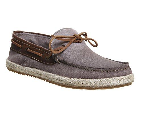 Unbekannt - Zapatillas para hombre Grey Suede Tan Leather