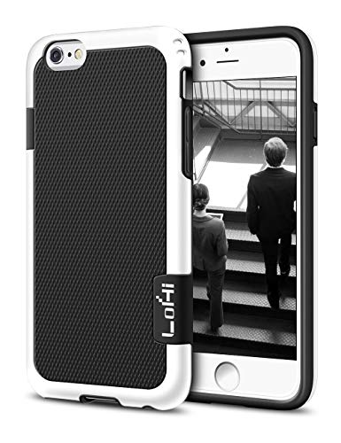 Compatible with iPhone 6s/6 Case, LoHi [Extra Front Raised Lip] Hybrid Impact 3 Color Shockproof Rugged Soft TPU & Hard PC Bumper Cover 4.7 Inch - Black