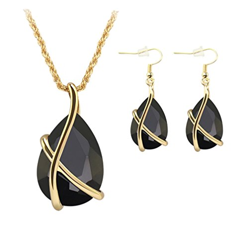 ZINSBEDI Gold Plated Black Crystal Stone Pendant Necklace Earrings Jewelry Set (Black)