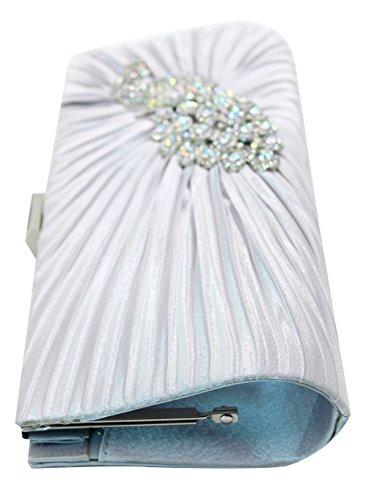 Satin Women with Evening Chain Purse Clutch Peacock Bag Pleated Rhinestone Handbag Bag Silver Shoulder 51R1wT