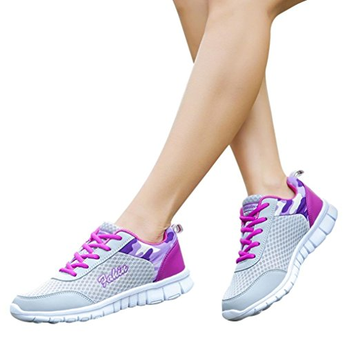 Shoes Round Mesh Purple Beathable Walking Cross Women Casual Running Outdoor HLHN Toe Sport up Lace Sneakers qEpxBx8