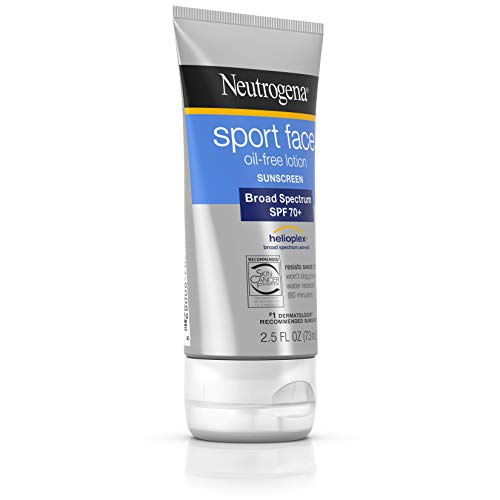 Neutrogena Sport Face Oil-Free Lotion Sunscreen with Broad Spectrum SPF 70 , Sweatproof Waterproof Active Sunscreen, 2.5 fl. oz Pack of 2