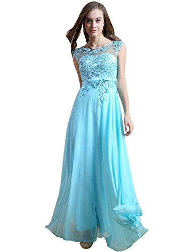 VogueZone009 Womens Solid Full Dress with Sewing Beads(Pattern Random Delivery), Blue, 16 by VogueZone009