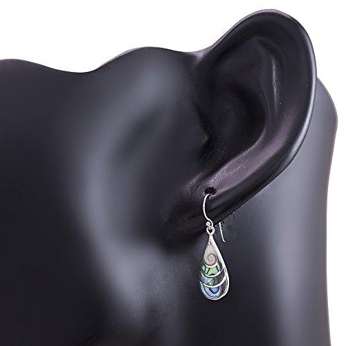Argent sterling 925œil de Shiva et vert Ormeau incrustation en forme de larme Boucles d'oreilles crochet pendantes 3,6cm