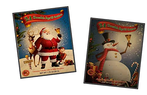 2018 Santa and Frosty Advent Calendar |24 Milk Chocolate Candies for Kids | Holiday Candy Countdown to Christmas Bundle Gift Set for Traditional Holidays | Present for Girls and Boys