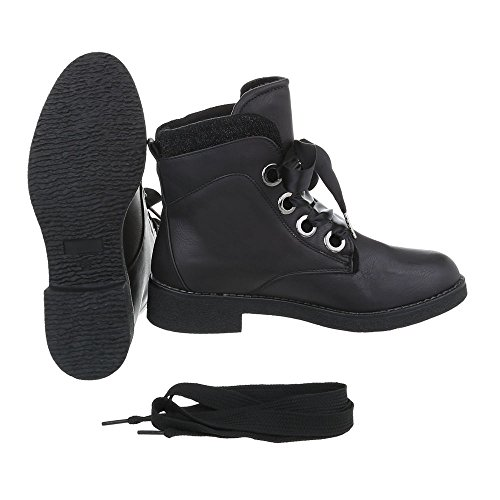 Women's Boots Block Heel Lace-Up Ankle Boots at Ital-Design Black r2OKcnwKtz